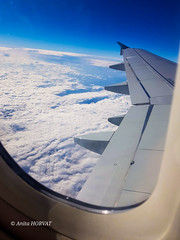 Beautiful scene from the airplane (krpena.lutkica) Tags: airplane clouds sky fluffy wing blue window air