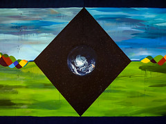 The Flaw in the Diamond or the Diamond in the Flaw (Steve Taylor (Photography)) Tags: earth plant drips runs ribbon twisted plats art graffiti mural streetart painting blue black green colourful southisland nz newzealand canterbury christchurch cbd city stars grass cloud sky