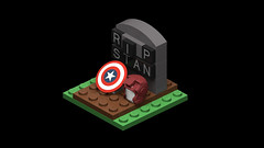 For Stan Lee... (RS 1990) Tags: stanlee rip vale grave tombstone captainamerica ironman lego vignette 3d rendering povray oc moc marvel comics simple graveyard tomb