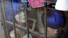 bluehairs behind bars (thompshow) Tags: wigs mannequins prison pinkruffle dust bluehair
