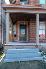 Doorway and Porch, St. Clair House — Lexington, Kentucky (Pythaglio) Tags: lexington kentucky unitedstates us fayettecounty twostory brick latevictorian porch cornice brackets italianate stclair saintclair columns doorway integralgutter steps