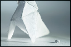 Origami... (Altazur) Tags: macromondays whiteonwhite paper paperonpaper abstract abstractmacro altazur pigeon white