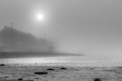 Foggy Hoy Lake beach (Will Margett Photography) Tags: black white nikon d7000 beach fog hoy lake mersey landscape water lightroom