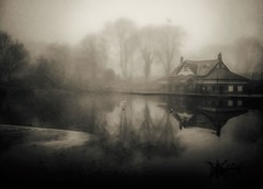 ICY LAKE 3 (Bill Eiffert) Tags: pictorialism park ice water mist fog boathouse trees reflection foggy emotion feeling atmosphere