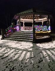 Depot Gazebo (Beth Crawford 65) Tags: oldtowns parks gazebos christmas christmaslightswinter cold show michigan greatlakesstate useofshadowandambientlight