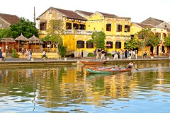 Hoai River and Bach Dang Street (adamsgc1) Tags: hộian hộianoldtown vietnam bachdangstreet hoai river boat reflection yellow building