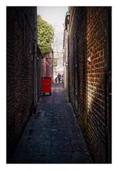 the red bin alleyway fp (Mallybee) Tags: fuji fujifilm xt100 35mm f2 fujinon mallybee brigg red alley alleyway bin garbage apsc bayer lincolnshire