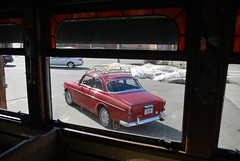 '67 Volvo from inside the Moran Square Diner. (63vwdriver) Tags: moran square diner fitchburg ma massachusetts mass vintage worcester lunch car 1967 volvo 122 122s amazon