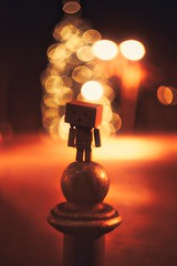 Danbo and the magic lights (mawestbohl) Tags: nightshot night outdoor lights danboard backlights bokeholics bokeh helios44 44m helios alpha a7 a7rii sony danbo