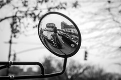 Self Portrait BW (Edgar.Omar) Tags: pentax k50 kseries k5518 selfshot portrait traffic bronx nyc mirror