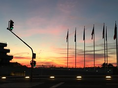 business district sunset (joannab_photos) Tags: goldenhour europe sunset skyporn flags business luxembourg kirchberg
