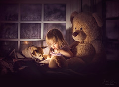 Storytime ({jessica drossin}) Tags: jessicadrossin portrait face dog pet bear stuffed animal child girl toddler book read reading story dark rain rainy window night wwwjessicadrossincom childhood