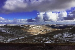 Gusts of spirals (Roxy Boyce) Tags: landscape snow cottonclouds winter lightandshadows wales valleys valley windy bluesky storm forest miles redsandstone sandstone theblackmountains breconbeacons