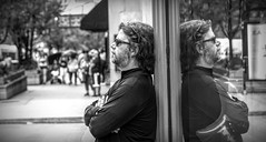 Chicago Street Photography..... (Kevin Povenz Thanks for all the views and comments) Tags: 2018 july kevinpovenz illinios chicago windycity street streetphotography streetportrait portrait reflection window mirror blackandwhite bw monochrome canon7dmarkii sigma24105art male guy man beard sunglasses downtown standing leaning