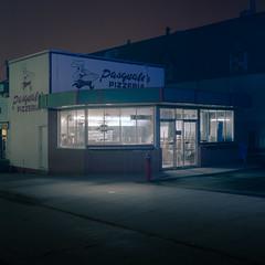 Hand Tossed (C A Soukup) Tags: handtossed oldpizza nighthawks nightphotography hasselblad film
