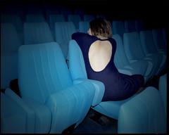 (AntoineLegond) Tags: movie theater mamiya7ii 65mm strobe flash contrast blue bleu azul bareback dosnu mohair dress kodak portra analogue film