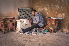 Craftsman of the tesselle mosaic at work (Sizun Eye) Tags: craftsman work mosaic moroccan morocco maroc atwork tradition traditional sizuneye nikond750 nikon50mmf18 people crafts handmade tesselle