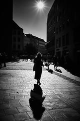 Curvy shadow (iamunclefester) Tags: münchen munich street autumnstreetphotos blackandwhite monochrome autumn backlight sunny bright curvy cast castshadow hardshadow silhouette cobblestone marienplatz alterpeter facade reflection autumnbacklightseries lowsun