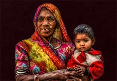 Safe with Grandma (felixvancakenberghe) Tags: asia asian child people india kids kid portrait woman smile