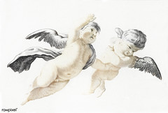 Two flying Putti by Johan Teyler (1648-1709). Original from The Rijksmuseum. Digitally enhanced by rawpixel. (Free Public Domain Illustrations by rawpixel) Tags: ancient angel antique art artwork baby baroque cherub child childhood children christiantiy classic classical courier cupid decor decoration decorative deity design divine drawing envoy great greece greek historic historical illustrated illustration johanteyler little myth mythological mythology naked name old olympian painting putti putto religion renaissance retro roman style traditional vintage wings
