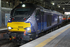 68006, Edinburgh Waverley, March 2nd 2016 (Southsea_Matt) Tags: 68006 class68 drs directrailservices vossloh eurolight scotrail abellio edinburgh waverley lothian scotland unitedkingdom diesellocomotive train railway railroad engine station passengertravel publictransport vehicle
