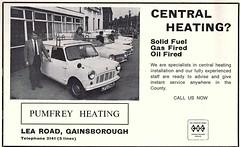 1973 ADVERT - PUMFREY HEATING VAN FLEET LEA ROAD GAINSBOROUGH (Midlands Vehicle Photographer.) Tags: 1973 advert pumfrey heating van fleet lea road gainsborough mini mk1 ford escort austin cfu243l