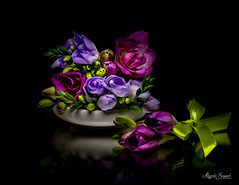 Bouquet (Magda Banach) Tags: canon canon80d freesia sigma150mmf28apomacrodghsm blackbackground bouquet colors flora flower flowers green macro nature plants porcelain purple reflection violet