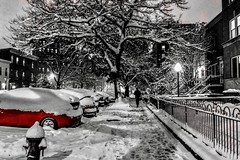 ❄️ yesterday is not tomorrow; tomorrow is not today ❄️ (anokarina) Tags: appleiphone8 kaloramatriangle instagram colorsplash red adobephotoshop psmobile city urban streetphotography snowday storm blizzard globalwarming climatechangeisreal dumptrump dupontcircle night lamp lights dcist