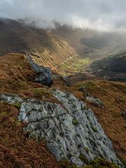 The Rock and the Rest - Nov 2018 (GOR44Photographic@Gmail.com) Tags: beinnanlochain scotland restandbethankful a83 road rocks sunlight shadows mist cloud argyll corbett arrocharalps green gor44 hill mountain autumn panasonic g9 olympus 1240mmf28