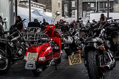 Odd One Out! (tanyalinskey) Tags: colourpop red vespa motorbikes oddoneout smileonsaturday bike road people