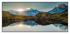 Sunrise at Cheserys's lake in the Alps - France (Doc Mat) Tags: randonnée tmb montblanc alpes courmayeur valléedaoste italie it tz100 tz101 sunrise sun light montain landscape montains