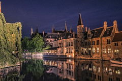Brugge (Wim van de Meerendonk, loving nature) Tags: brugge cityscape citiy belgium bluehour wimvandem water reflection canal canals monumental outdoors outdoor panorama sony scenic vlaanderen city sky building