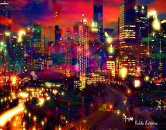 Synergy (brillianthues) Tags: city urban lights glow skyline street colorful collage photography photmanuplation photoshop