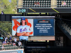 Citi Field, 09/30/18 (NYM v MIA): video board graphic: Noah Syndergaard has five career wins against the Marlins, his most vs. any opponent (IMG_4448a) (Gary Dunaier) Tags: ballparks baseball stadiums stadia mets newyorkmets flushing queens newyorkcity queenscounty queensboro queensborough citifield