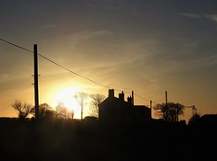 Sunset Silhouettes at Cresswell Farm (Gilli8888) Tags: cresswell cresswellponds northumberland northeast countryside nikon p900 coolpix sunset farm silhouette silhouettephotography telegraphpole buildings sun trees