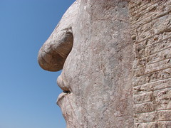 Crazy Horse's Face Detail - Crazy Horse Mountain Monument South Dakota (Davey Z(2)) Tags: crazy horse mountain monument rock lakota indian south dakota 2006 face outstretched arm blue sky unfinished native american blasting granite nose mouth detail davey z 1 2 3 left side carving lips head