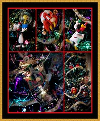 Ornate Christmas (MoparMadman63) Tags: framed collage christmas theme looneytunes christmastree hanging tradition colorful lights decoration ornaments viewpoint