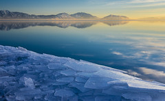 Jagged Edge (JasonCameron) Tags: utah lake ice water glass mirror reflection scenic beauty clouds sky mountain lanscape build up