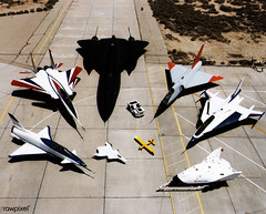 Collection of NASA's research aircraft on the ramp at the Dryden Flight Research Center: X-31, F-15 ACTIVE, SR-71, F-106, F-16XL Ship #2, X-38, Radio Controlled Mothership and X-36, 07/16/1997. Original from NASA. Digitally enhanced by rawpixel. (Free Public Domain Illustrations by rawpixel) Tags: afrl airforceresearchlaboratory aircraft aircraftcarrier airplane amesresearchcenter army boeingphantomworks collection drydenfleetaircraft drydenflightresearchcenter engineering f106 f15active f16xl f112engine launch mcdonnelldouglas military moffettfield name neuralnetalgorithm operation pdnasa plane publicdomain reconfigurablecontrolfortaillessfighteraircraft restore runway ship software soldier spacecraft sr71 technology turbofan us usa williamsinternational x31 x36 x38