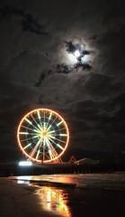 Pier (lotosleo) Tags: light color pier wheel ocean night sky moon outdoor landscape reflection atlanticcity nj beach impression steelpier