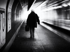 motion (Sandy...J) Tags: streetphotography blackwhite monochrom urban noir city light motion tunnel olympus blur silhouette street germany bw