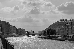 Fontanka Embankment (Shumilinus) Tags: 2018 35mmf18 landscape nikond300s saintpetersburgrussia summer city town cityscape blackandwhite bw river water sky skyline clouds bridge street buildings exterior