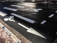 piste cyclable (genelabo) Tags: notes reimes france frankreich lightroom tour traveling monochrome fahrradweg strase street fahrrad radl bicycle lane pfeil zebra piste cyclable vélo rue fléchage arrow