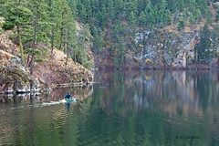 The  Canoeist (joeinpenticton Thank you 2.3 Million views) Tags: canoe canoeist yellow lake bc british columbia okanagan joeinpenticton joe jose garcia ok okanogan valley reflection reflecting reflect similkameen fisher fishing fish fishermen paddle paddling riples riple