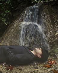 il suono dell'acqua (nicolamarongiu) Tags: acqua water cascata parco portait ritratto concept concettuale sound dream sogno rock addormentato dormire bosco surreal surreale colore canon emotive sentire sdraiato