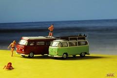 On The Beach (psychosteve-2) Tags: vw camper model van toy macro preiser figures beach