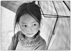Little Girl in Ma Cha (cheryl strahl) Tags: asia vietnam sapa machavillage village hmong umbrella rain sad tribal