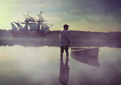 He Left For the Ocean (Ridgway Imagery) Tags: fineart fineartphotography fineartphotographer conceptualconceptualphotography conceptualart conceptualphotographer surrealart surreal surrealphotography surrealphotographer photography photographer photo image lake water ocean bodyofwater abstract metaphorical left leaving leftfortheocean malemodel male model ship journey newhorizons escape painting pastel calm worry light dark atmospheric ridgwayimagery