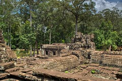 Bayon temple ruins in the ancient city of Angkor Thom in Angkor Archeological Park near Siem Reap, Cambodia (UweBKK (α 77 on )) Tags: ancient history historical temple ruins archeology angkor archeological park siem reap cambodia southeast asia sony alpha 77 slt dslr bayon thom city stone rock tree forest jungle