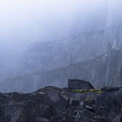 Unforgiving (andy_grundy) Tags: atmosphere dinorwic dinorwig fujifilmxt3 grey hut landscape mist quarry slate snowdonia